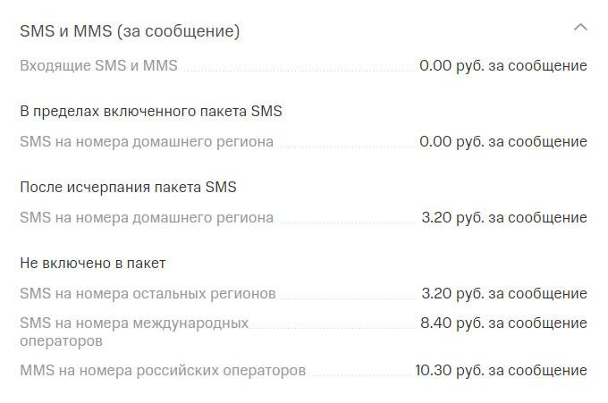 """Стоимость SMS на тарифе """"Мой Смарт"""""""